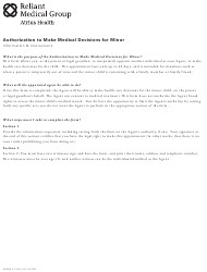 Authorization to Make Medical Decisions for Minor - Reliant Medical Group