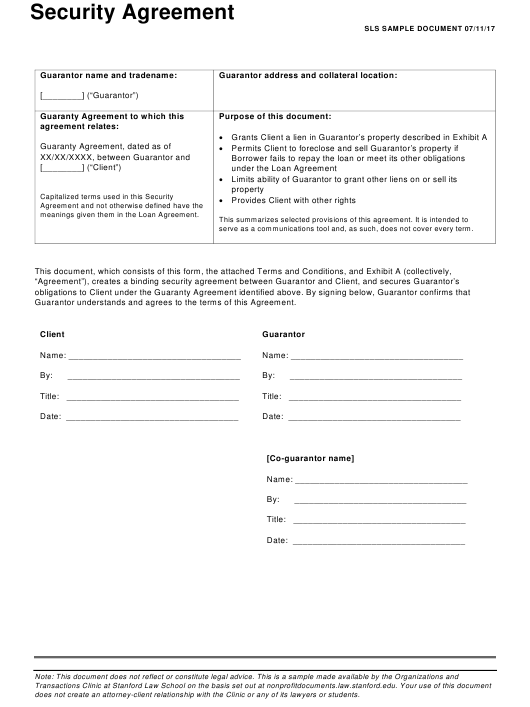 Security Agreement Form - Stanford Law School Download