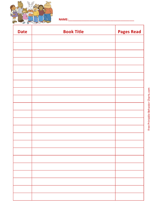 image about Reading Log Printable identified as Arthur Looking through Log Template Obtain Printable PDF
