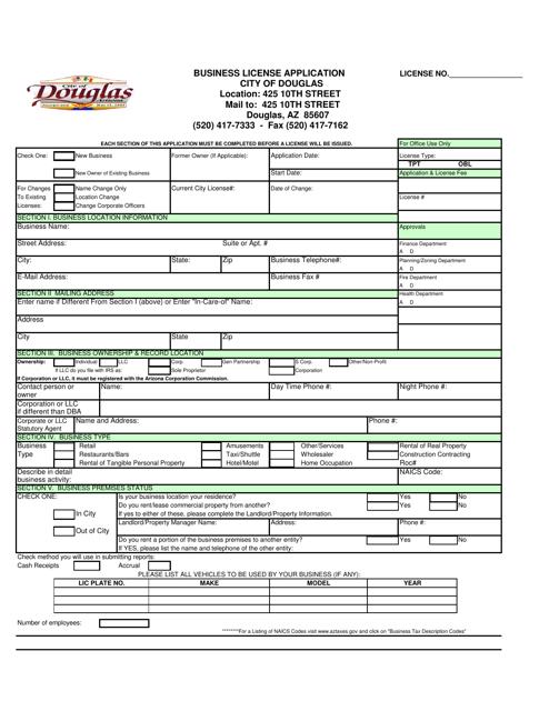 """Business License Application Form"" - Douglas, Arizona Download Pdf"