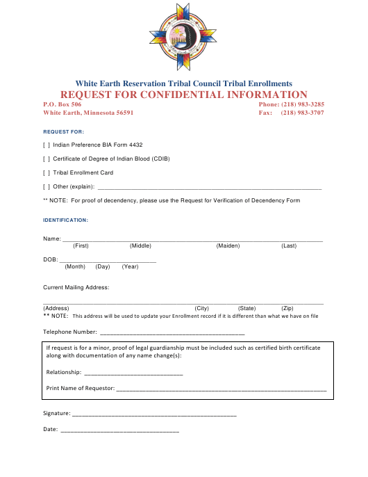 """""""Request Form for Confidential Information - White Earth Reservation Tribal Council Tribal Enrollments"""" - Minnesota Download Pdf"""
