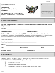 "Form DHS-5 ""Citizenship and Enrollment Renunciation Form"" - British Columbia, Canada"