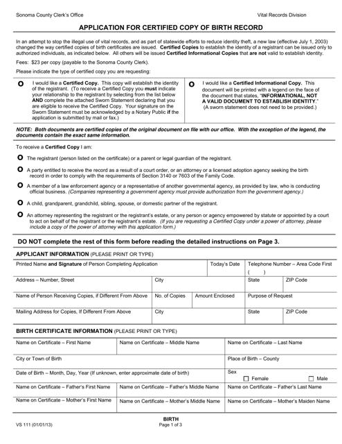 Form VS111  Printable Pdf