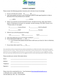 Eligibility Assessment Form - Habitat for Humanity - Canada