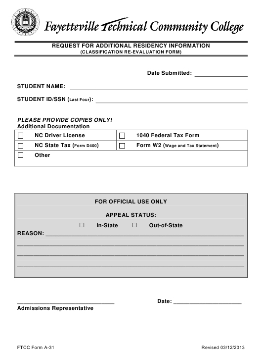 Request for Additional Residency Information (Classification Re-evaluation Form) - Fayetteville Technical Community College - North Carolina Download Pdf