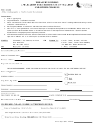 """""""Application for Certificate of Tax Liens and Other Charges"""" - Charles County, Maryland"""