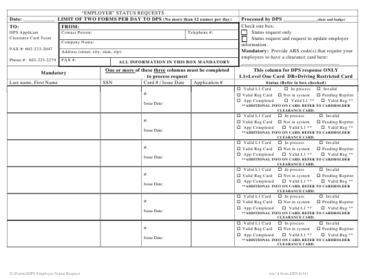 """Employer Status Request Form"" - Arizona Download Pdf"