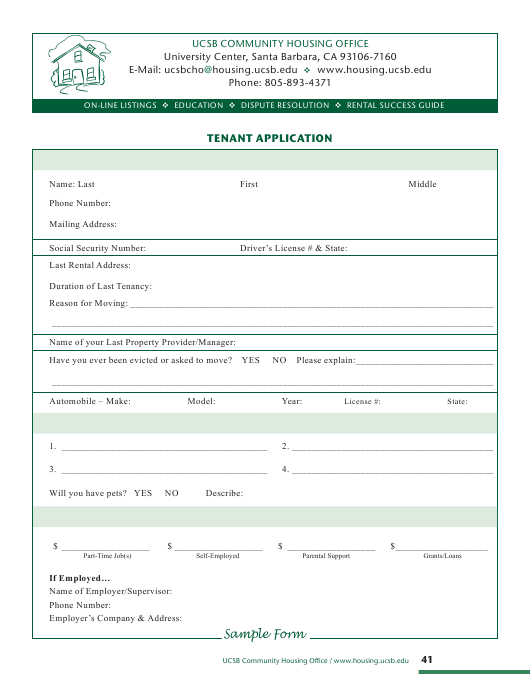 """""""Tenant Application Form - Ucsb Community Housing Office"""" - California Download Pdf"""