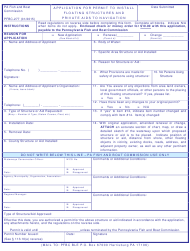 "Form PFBC-277 ""Application for Permit to Install Floating Structures and Private Aids to Navigation"" - Pennsylvania"