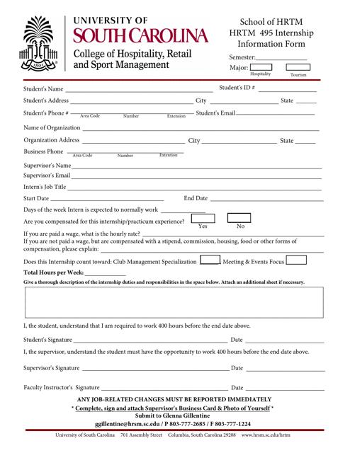 """Internship Information Form - University of South Carolina"" Download Pdf"