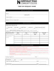 """Time-Off Request Form - Northeast Texas Community College"" - Texas"