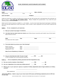 Basic Residence Questionnaire Supplement Form - Solano Community College - California