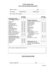 """Pre-trip Inspection Report Form - Type Iii School Bus"""