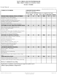 """Form CNICCYP1700/26 """"Pre-trip Vehicle Inspection Daily Form"""""""
