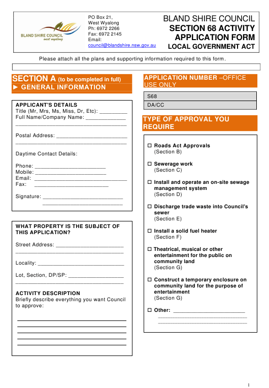 """""""Section 68 Activity Application Form"""" - Town of West Wyalong, New South Wales, Australia Download Pdf"""