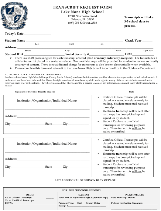 """Transcript Request Form - Lake Nona High School"" - Florida Download Pdf"