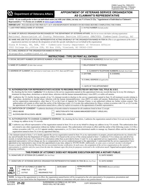 VA Form 21-22  Fillable Pdf