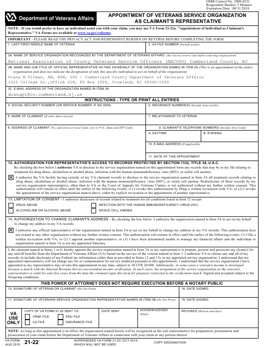 VA Form 21-22  Printable Pdf