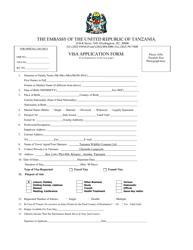 """Tanzanian Visa Application Form - the Embassy of the United Republic of Tanzania"" - Washington, D.C."