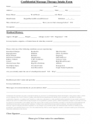 Confidential Massage Therapy Intake Form