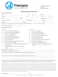 Massage Therapy Intake Form - Therapia Acupuncture Wellness Clinic - Portland, Oregon