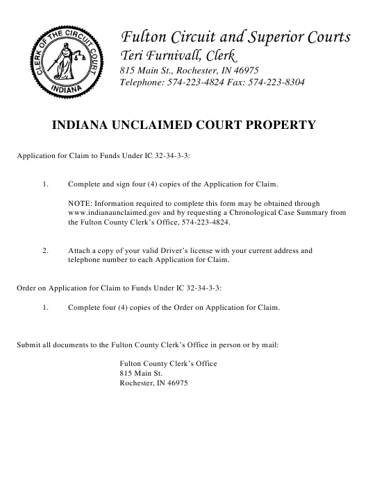 """""""Application Form for Claim to Funds"""" - County of Fulton, Indiana Download Pdf"""