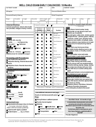 Well Child Exam Template - Early Childhood 18 Month - Ohio