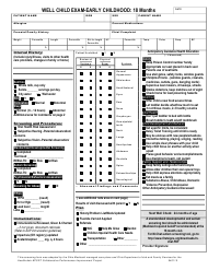 """Well Child Exam Template - Early Childhood 18 Month"" - Ohio"