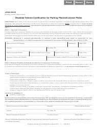 Form VSD 800.2 Disabled Veteran Certification for Parking Placard/License Plates - Illinois