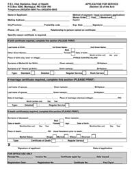 """Application for Service"" - Prince Edward Island, Canada"