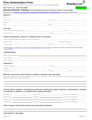Prior Authorization Form - Priorityhealth