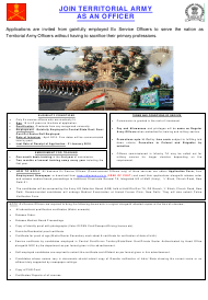 """Application Form for Commission in the Territorial Army for Non Dept (Inf) Ta"" - India"
