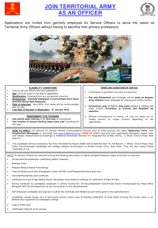 """""""Application Form for Commission in the Territorial Army for Non Dept (Inf) Ta"""" - India Download Pdf"""