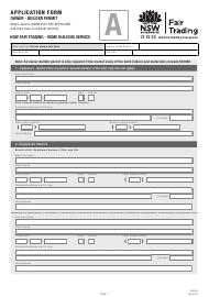 Form Hb 004 Builder Permit Application Form - Owner - New South Wales Australia