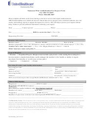 Tennessee Prior Authorization Fax Request Form - Unitedhealthcare - Tennessee