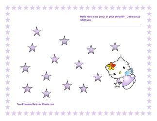 """Hello Kitty Behavior Chart With Stars"""