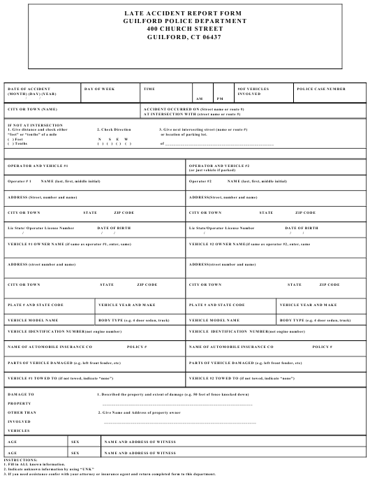 """Late Accident Report Form"" - Guilford, Connecticut Download Pdf"