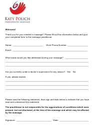 Chair Massage Intake Form - Katy Polich Therapeutic Massage