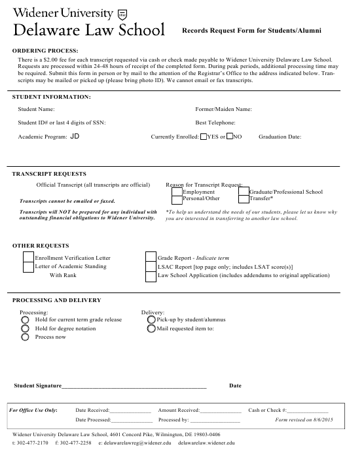 """Transcript Request Form for Students/Alumni - Widener University Delaware Law School"" - Delaware Download Pdf"
