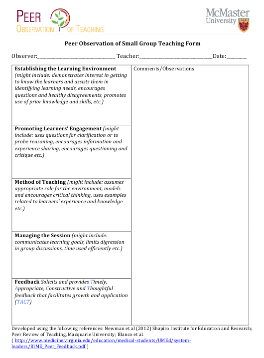 """""""Peer Observation of Small Group Teaching Form - Mcmaster University"""" Download Pdf"""