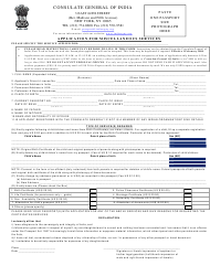"""Application for Miscellaneous Services - Consulate General of India"" - New York City"