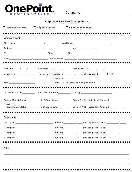 """""""Employee New Hire/Change Form - Onepoint"""" Download Pdf"""