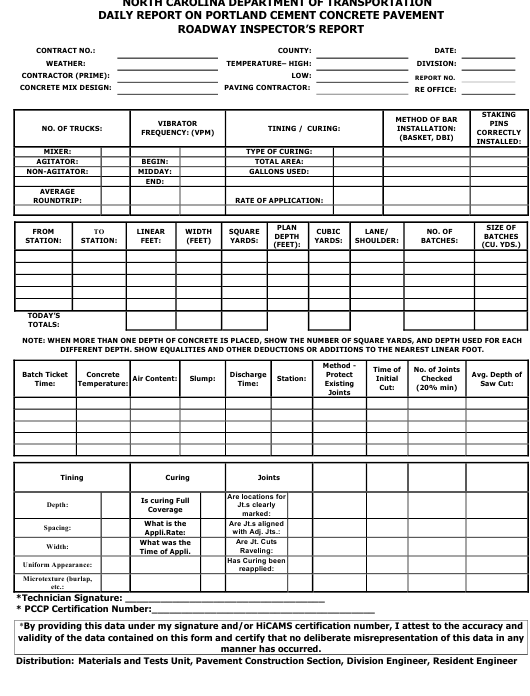 """Daily Report on Portland Cement Concrete Pavement - Roadway Inspector's Report"" - North Carolina Download Pdf"