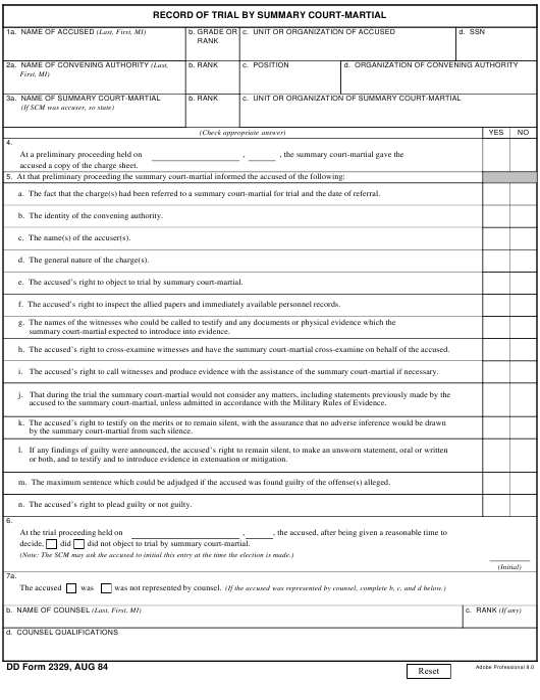 DD Form 2329 Fillable Pdf