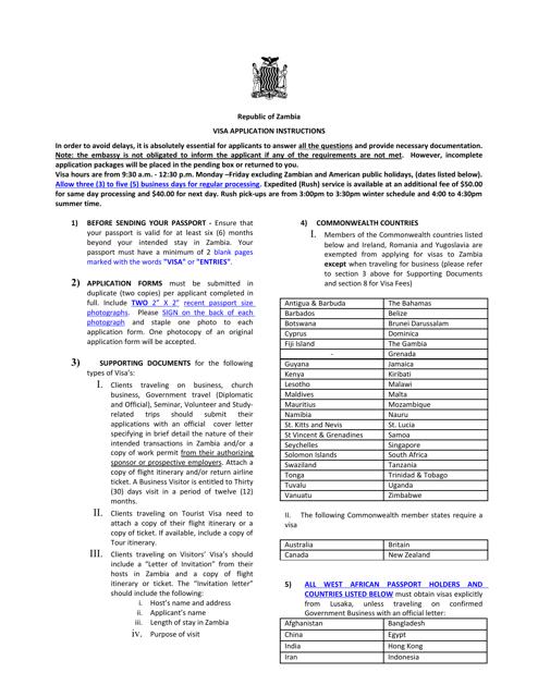 Washington D C Zambia Visa Application Form Embassy Of The Republic Of Zambia Download Printable Pdf Templateroller
