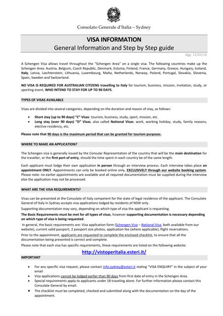 Italian Visa Checklist - Consolato Generale D'italia Sydney