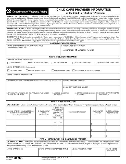 VA Form 0730b  Fillable Pdf