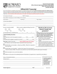 Transcript Request Form - Howard Community College