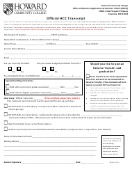 """Transcript Request Form - Howard Community College"""