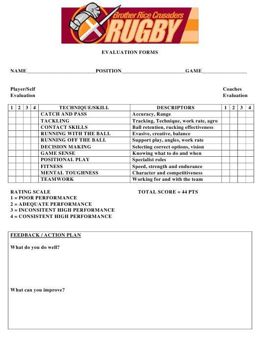 """""""Evaluation Form - Brother Rice Crusaders Rugby"""" Download Pdf"""